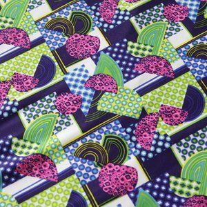 Vintage Psychedelic Geometric Print Mod Material